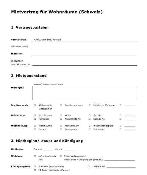 Vorlage Mietvertrag fr Wohnrume Schweiz  MusterVorlagech