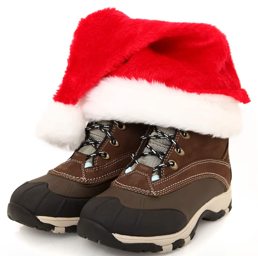 Outdoor Boots with Santa Hat