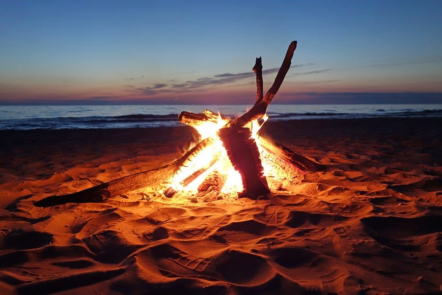 Campfire by Lake Michigan