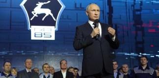 О своем намерении вновь баллотироваться на пост президента страны Путин объявил на Горьковском автозаводе. Фото: президент.рф
