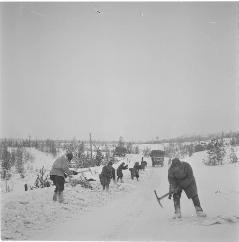 Медвежьегорск. Зима 1941-1942 г. Военнопленные на строительстве дороги