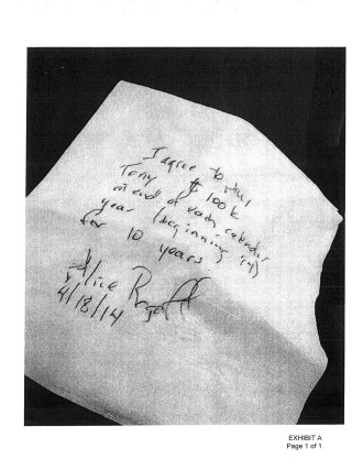 Straight out of the movies, Exhibit A is a contract on a bar napkin, signed by Alice Rogoff.