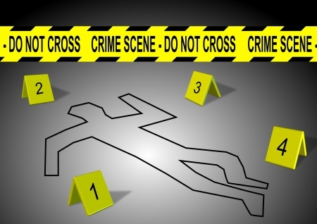 10440701 - a body outline with crime scene tape and numbers