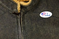3842965 - leather-like jacket with i voted sticker - closeup details