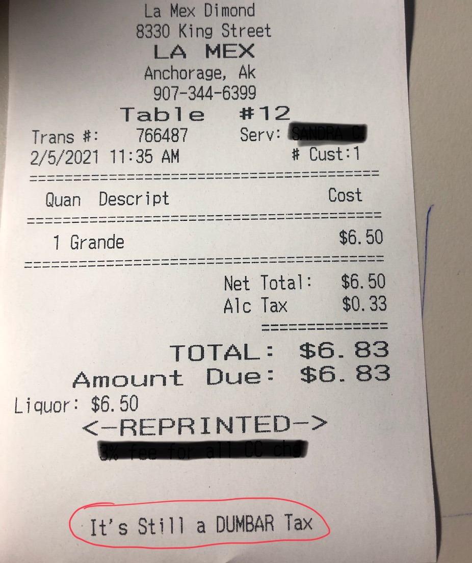 Restaurant forced by Municipality to remove 'Dunbar tax' from receipt – Must Read Alaska