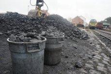 Large lumbs of coal.