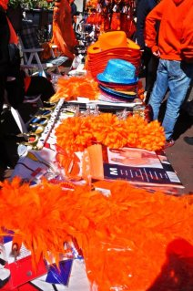 Orange attributes are sold everywhere on the streets.