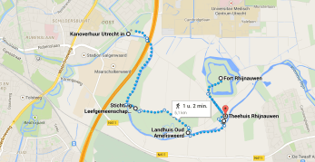 Simple Map of a walk along the river to Rhijnauwen-Amelisweerd