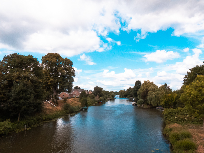 Cycling in Holland on the dykes along the Linge passing by Beesd
