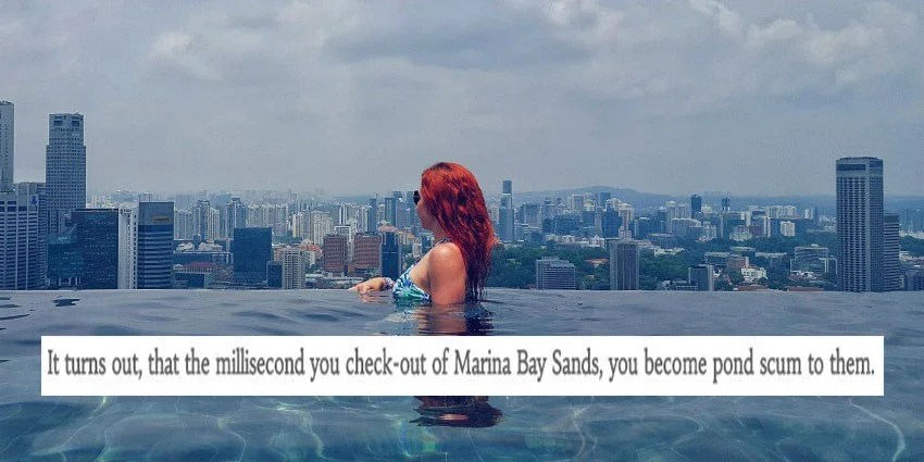 ang moh blogger complains about being refused entry to mbs infinity pool after checkout - Marina Bay Sands Pool