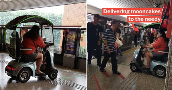 Woman Gets Flak For Riding Mobility Aid At MRT, She Needs It To Deliver Mooncakes To The Needy