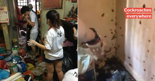 Elderly Man Lives Alone In Beach Road Flat Infested With Cockroaches, Brave Volunteers Help To Clean It