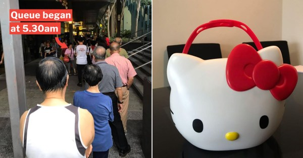 McDonald's Hello Kitty Carrier Had S'poreans Queueing Since 5.30am, Resold On Carousell For Twice The Price