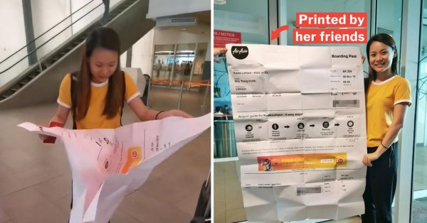 M'sian Girl Kena Pranked With 1.2m-Long Boarding Pass, Even Officer & Air Stewardess Also Laugh