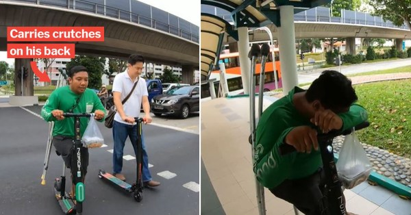 One-Legged S'pore GrabFood Rider Pushes PMD With His Foot Even As He Loses 70% Of Orders
