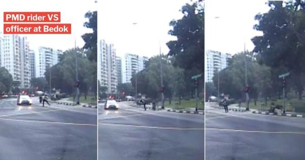 Errant Bedok PMD Rider Given Flying 'Ip Man Kick' By Officer In Disturbing Dashcam Footage