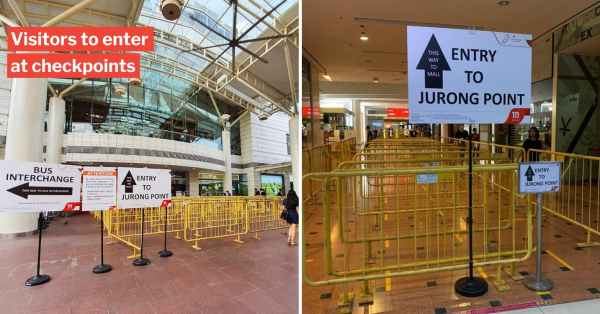 Jurong Point Limits Visitors Entering Mall At Checkpoints, Customers To Practice Social Distancing