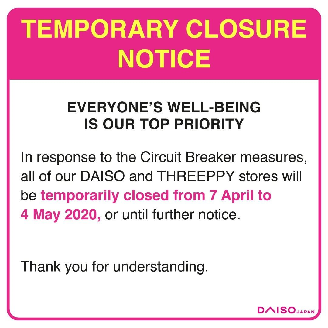All Daiso Outlets To Remain Closed During Circuit Breaker