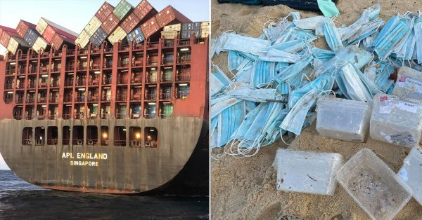 S'pore-Based Ship Loses 40 Containers Due To Rough Seas, Masks Wash Ashore In Sydney