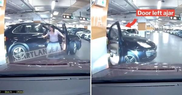 Driver Exits Car While Reversing, Door Hits Pillar & Almost Snaps Off