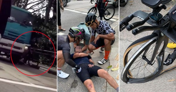 Cyclist 'Squeezed' Off Road In Changi When Truck Travels Past, Netizens Urge Caution
