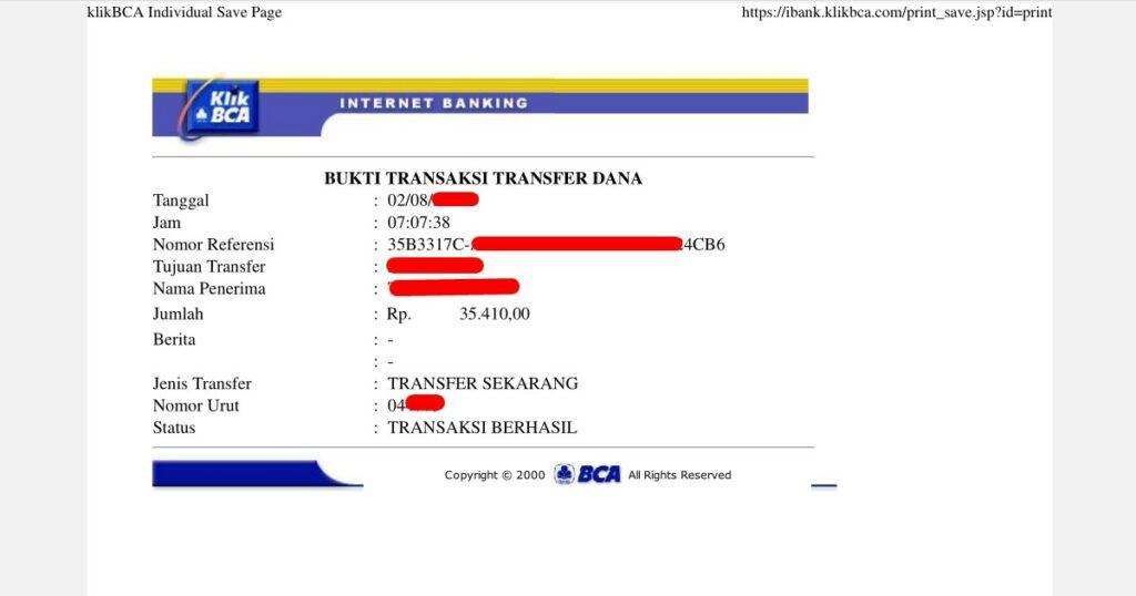 Cara melihat bukti transfer BCA via internet banking