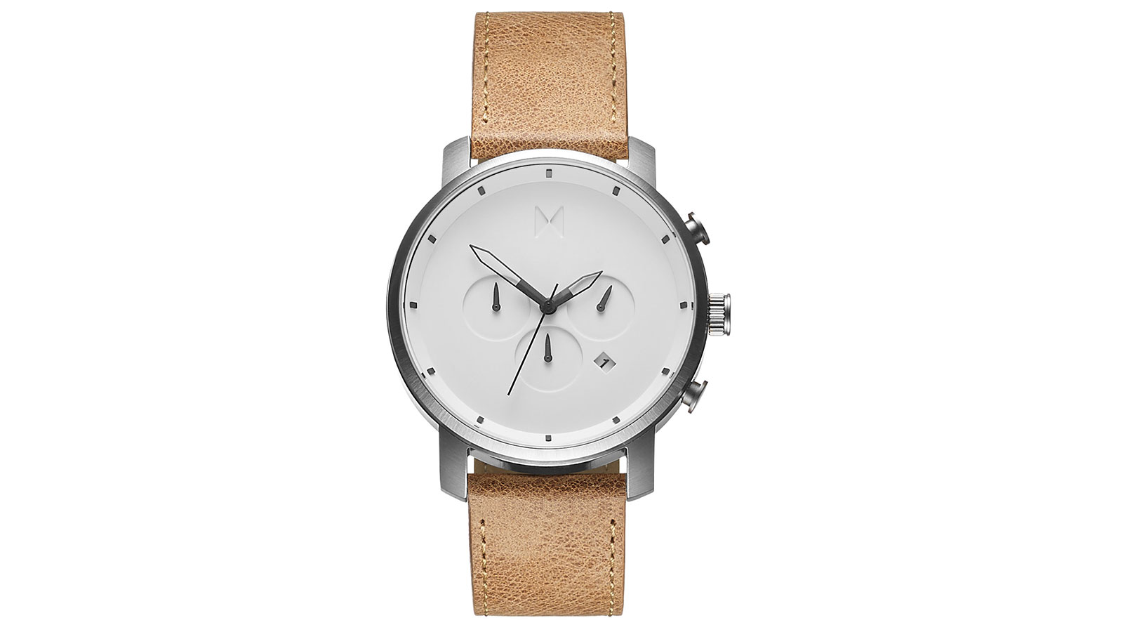 MVMT Chrono White Caramel Leather Watch   best men's watches under $300