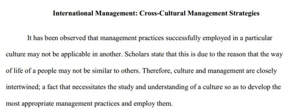 Research paper on Cross-Cultural Management Strategies