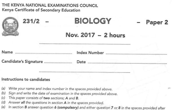 Biology Paper 2 2017 KCSE past paper
