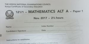 Mathematics Paper 1 Alt A 2017 KCSE past paper