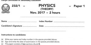 Kcse 2019 physics paper 1