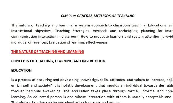 CIM 210 General Methods of Teaching class notes pdf