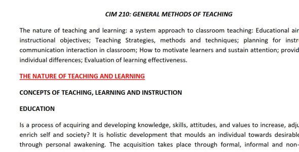 CIM 210 General Methods of Teaching class notes pdf