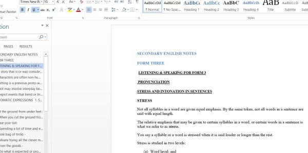 Download pdf Form 3 English Class Notes For Students and Teachers in Kenya only