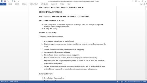 Comprehensive and Simplified Form 4 English Notes