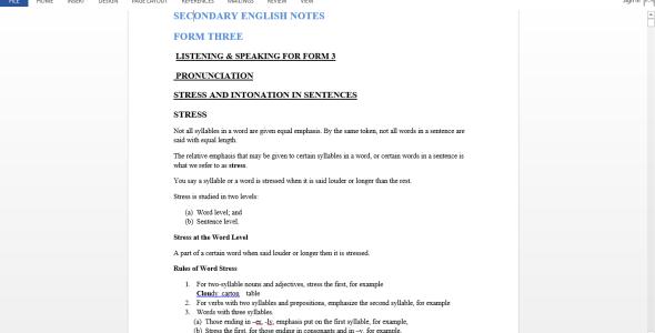 English Form Three Class Notes