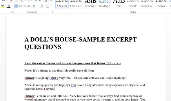 A Dolls House by Henrik Ibsen Excerpts and Questions