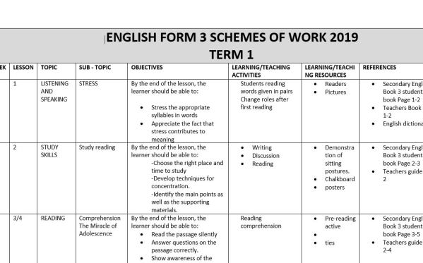 English Schemes of Work Form 3 with Blossoms of the Savannah 2019 for Term 1, 2, 3