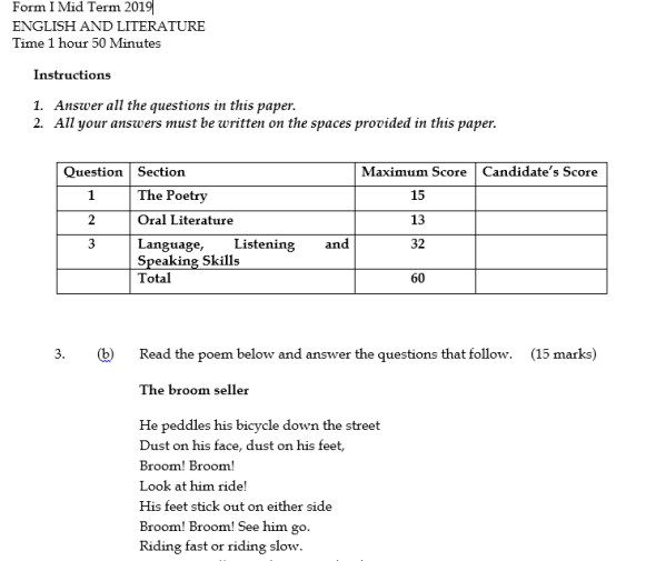 Form 1 Mid Term Past Papers (English and Literature)
