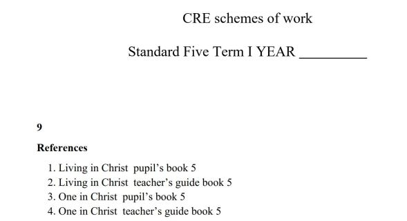 Class 5 CRE Living in Christ Schemes of Work (Term 1,2,3)