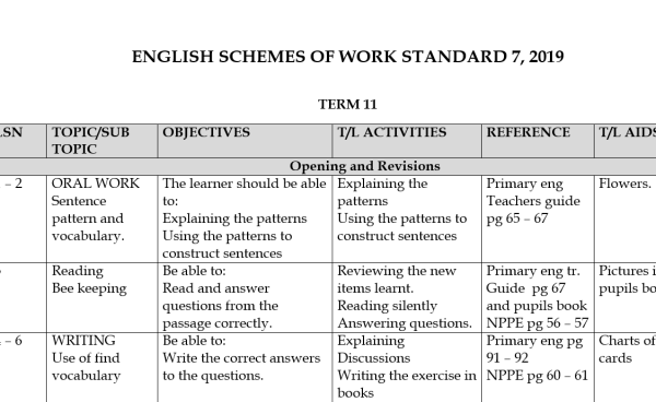 English Class 7 Schemes of Work Term 2 and 3