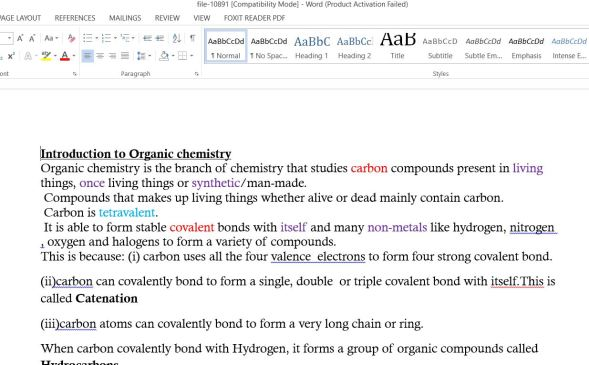 Form 3 Organic Chemistry Class Notes