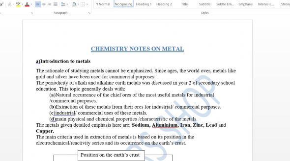 Form 3 chemistry Class notes on Metal