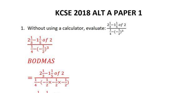KCSE 2018 Mathematics Paper 1 Revision Guide