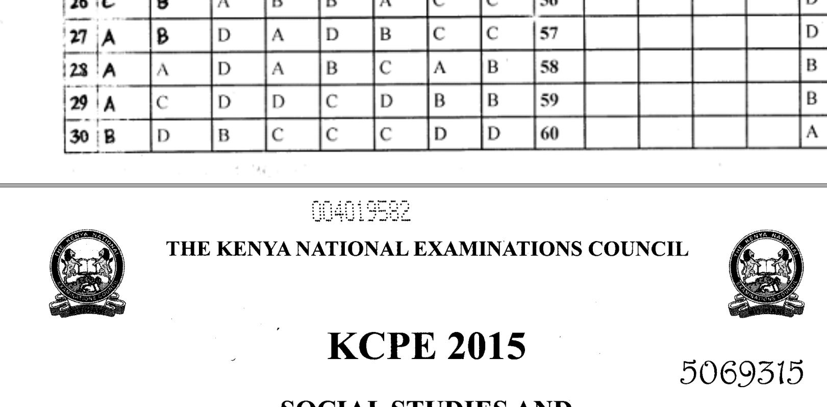KNEC KCPE 2015 Past Papers with Answers (All Subjects) - Muthurwa  Marketplace