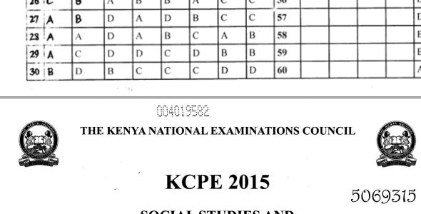 KNEC KCPE 2015 Past Papers wit Marking scheme Answers (All Subjects)