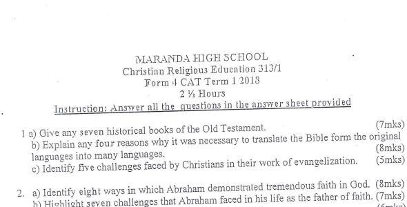 Maranda High Form 4 C.R.E Paper 1