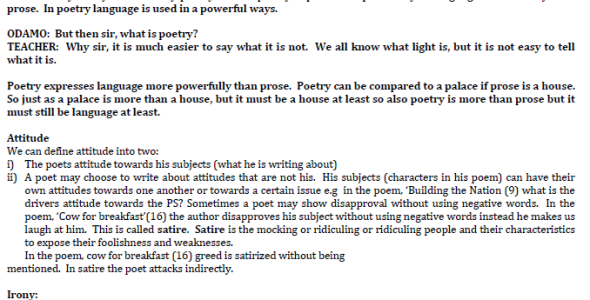 kcse revision oral literature and poetry