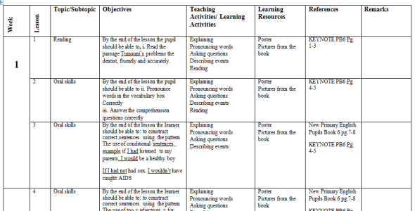 Class 6 English keynote schemes of work term 1 2019