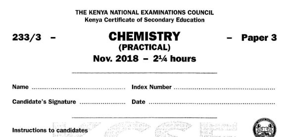 KCSE Chemistry Paper 3, 2018 with Marking Scheme (Answers)